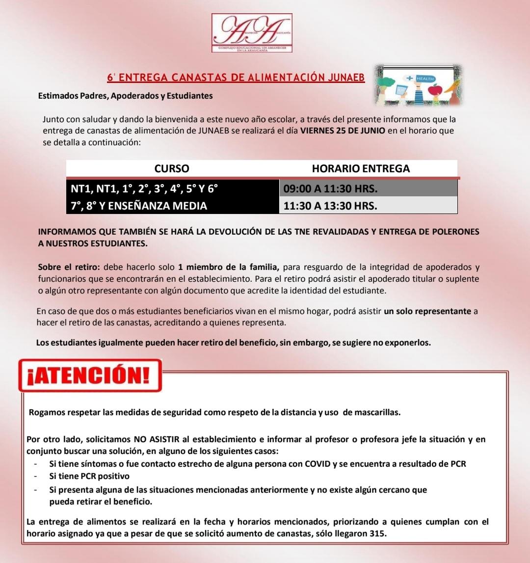 6° ENTREGA CANASTAS JUNAEB Y POLAR INSTITUCIONAL