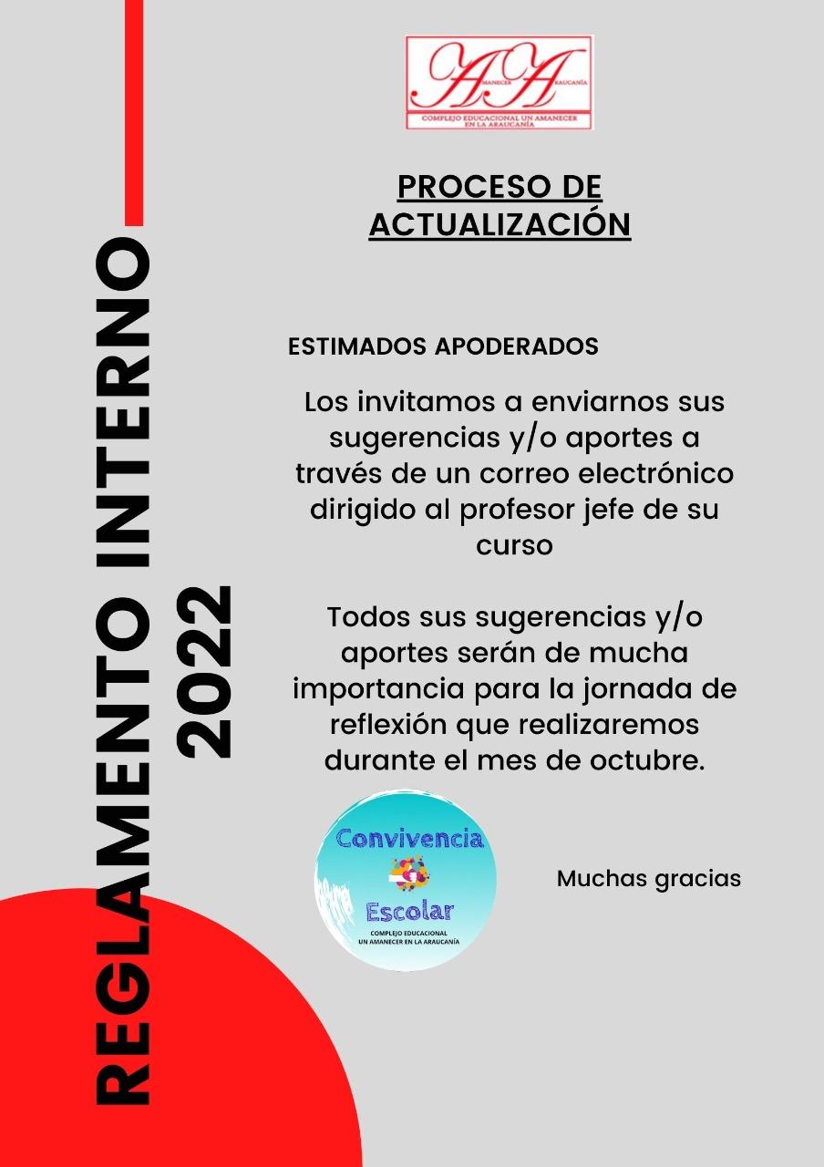 PROCESO ACTUALIZACIÓN REGLAMENTO INTERNO 2022